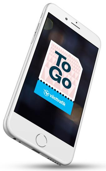 Västttrafiks nya App ToGo är först med månadskort i mobilen. Bild: Västtrafik.