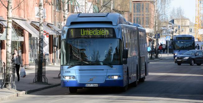 Stadsbussarna i Umeå har börjat året med en stark resandeutveckling. Foto: Ulo Maasing.