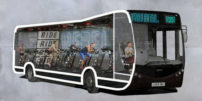 Gymkedjan 1Rebel och arkitektbyrån WMOR Architecfts i London håller på att utveckla ett gym för  spinning och annan träning om,bord på bussen till jobbet. Illustration: WMOR Architects.