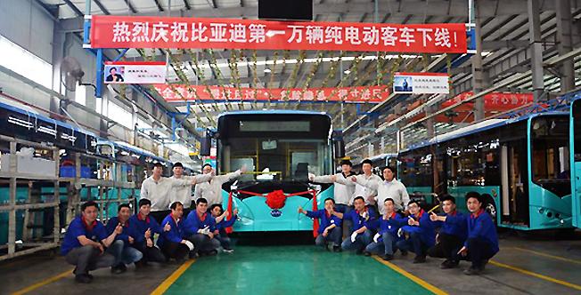 Kinesiska BYD har producerat sin 10 000:e batteribuss. Foto: BYD.