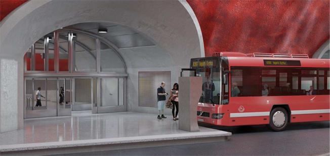 En av avgångshållplatserna inne i Katarinaberget. Bild: Link Arkitekter.