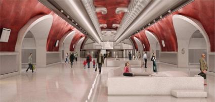 Vänthallen med portar ut till hållplatserna. Bild: Link Arkitekter.