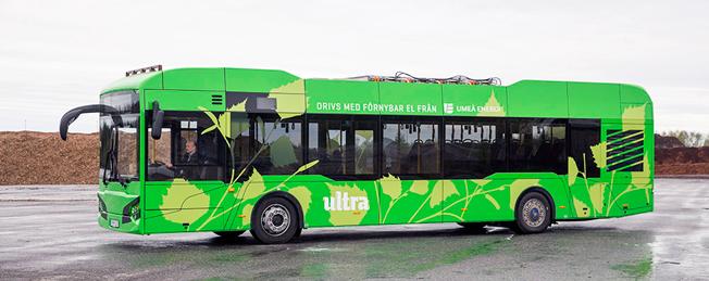 Nu rullar de första exemplaren av elbussen HAW 12 på Umeås gator. Foto: Hybricon.
