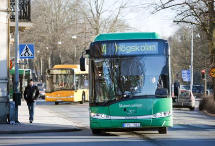 Stadstrafiken i Kristianstad får högst betyg av alla skånska städer. Foto: Skånetrafiken.