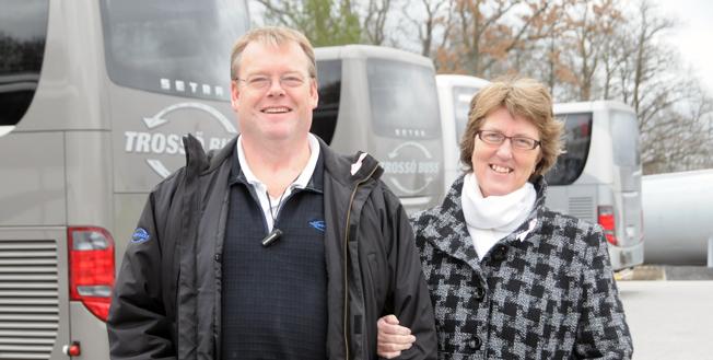 Makarna Magnus Petersson och Elisabeth Åberg Petersson har utsetts till Årets Företagare i Karlskrona. För en vecka sedan köpte deras företag Trossö Buss dessutom välkända Bromölla Buss. Arkivbild: Ulo Maasing.