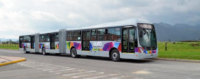 Volvo ska leverera 80 dubbelledade bussar till BRT-systemet i Quito. Foto: Volvo Bussar.