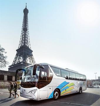 BYD:s batteridrivna turistbuss presenterades i våras i Paris. Foto: BYD.