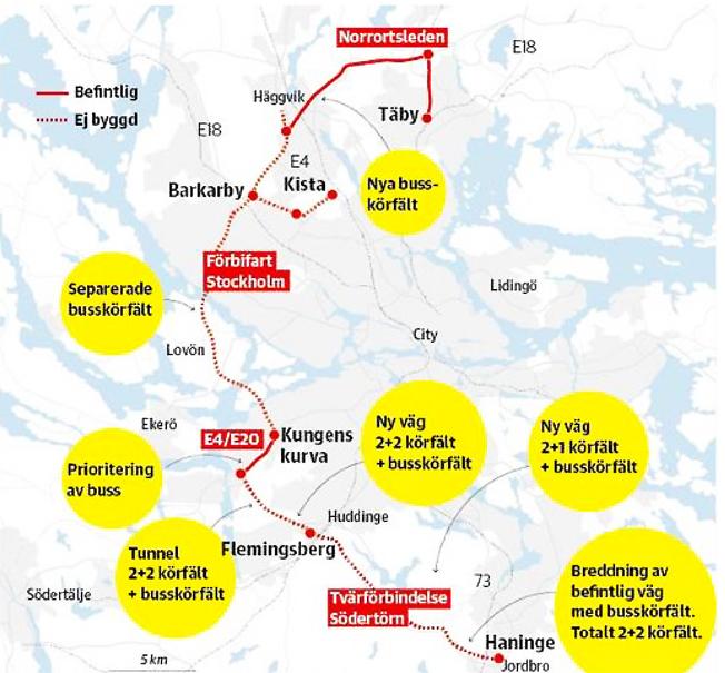Stockholmsbågen har lanserats av Scania, Skanska och WSP som en förlängning av Förbifart Stockholm med miljöanpassad kollektivtrafik som aktivt bidrar till Stockholmsregionens utveckling och ökat bostadsbyggande. Med hjälp av superbussar kan Förbifart Stockholm utvecklas till Stockholmsbågen Haninge–Täby, ett innovativt och hållbart infrastrukturprojekt. Bild: Scania.
