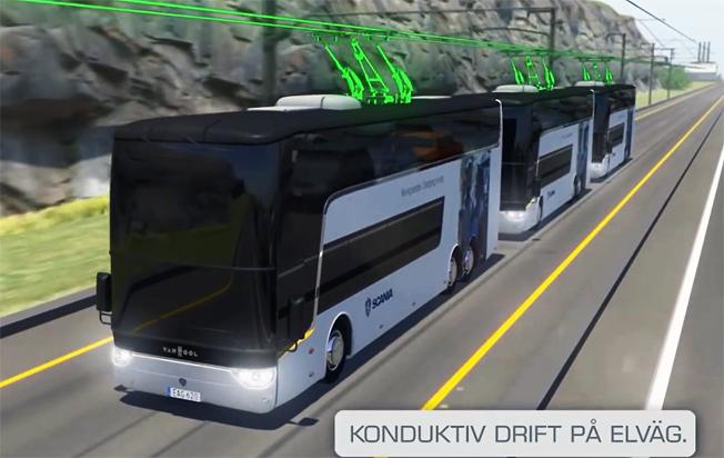 Superbussar som laddas dynamiskt på en del av sträckan och platoonar kan trafikera Förbifart Stockholm enligt en ny studie. Bild: Scania.
