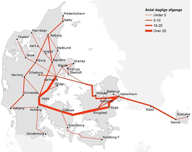 Fjärrbussnätet i Danmark med teurt'ätheten angiven. Karta: Trafikstyrelsen.