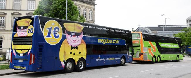 """Konsolidering bland expressbussjättar: Stagecoachägda megabus.com blir underleverantör till FlixBus på kontinenten enligt principen """"If you can´t beat them, join them"""". Foto: Ulo Maasing."""