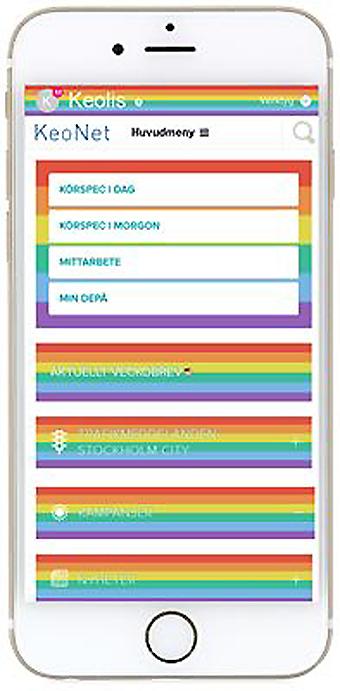 Keolis´ intranät blir regnbågsfärgat i samband med Pridefestivaler. Bild: Keolis.