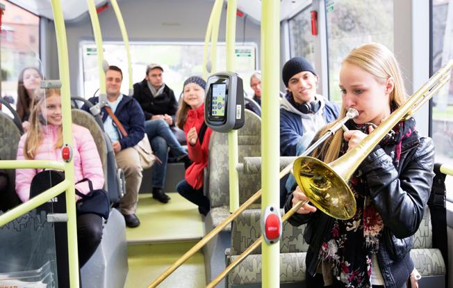 Elbusslinje 55 i Göteborg blir konsertlokal för klassisk musik. Bild: Volvo.