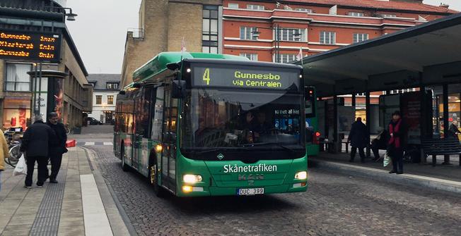 Resandet med stadsbussarna i Lund ökar starkt, men inte så starkt som väntat. Foto: Skånetrafiken.