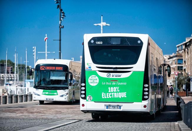 Marseille har fått Frankrikes första linje som uteslutande trafikeras med fullstora batteribnussar. Foto: Irizar.