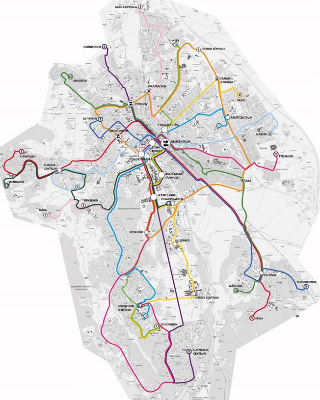 Geografisk karta över Uppsalas nya busslinjenät. Bild: UL.