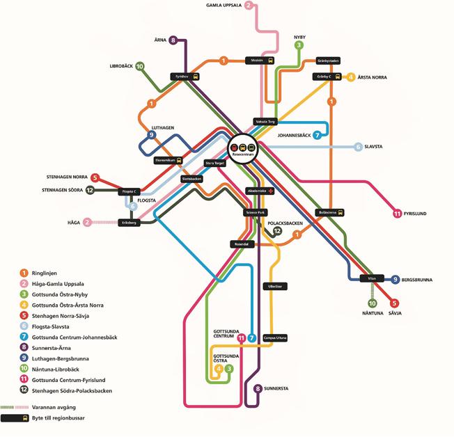 En schematisk karta över det nya stadsbussnätet i Uppsala. Bild: UL.