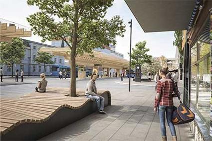 Kmnutpunkten för den expansiva stadsbusstrafiken i Umeå, Vasaplan, ska byggas om. Bild: Winmgårdh arkitekter.