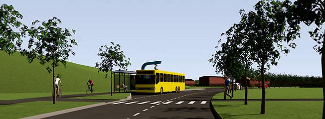 Östersunds kommun har nu lämnat in ansökan om bygglov för den första laddstationen för sin kommande elbusstrafik. Bild: Östersunds kommun.
