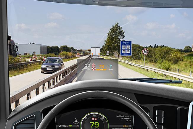 Continentals Hed-up-display ger bussföraren information utan att föraren behöver vända bort blicken från trafiken. Bild: Continental.