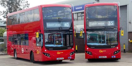 Nästan varannan hybriddriven dubbeldäckare i London är en Volvo. Foto: Volvo Bussar.