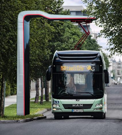 MAN lanserar på IAA-mässan i höst en elbuss för stadstrafik. Likheten med Volvos elbuss är slående, åtminstone i fronten. Foto: MAN.