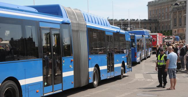 Busskaos hotar i Stockholm onsdag-torsdag. Foto: Ulo Maasin g.