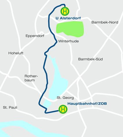 Innovationslinje 109 är drygt nio kilometer lång pch går genom centrala Hamburg, Karta: Hamburger Hochbahn.