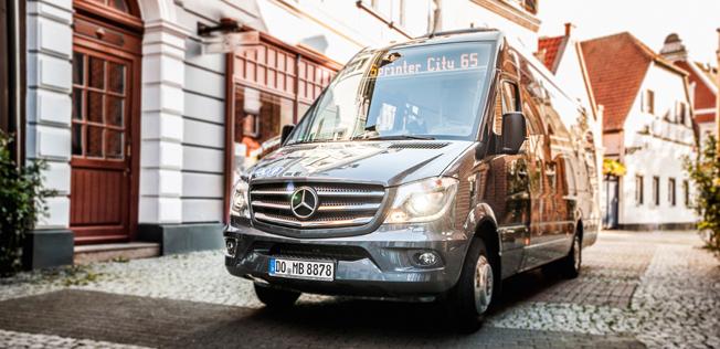 Ännu icke eldriven Mercedes-Benz Sprinter. Men Sprinter med batteridrift är på gång. Foto: Daimler.