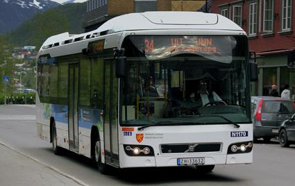 Snart kollad i realtid – en av stadsbussarna i Tromsö. Foto: calflier001/Wikimedia Commons.
