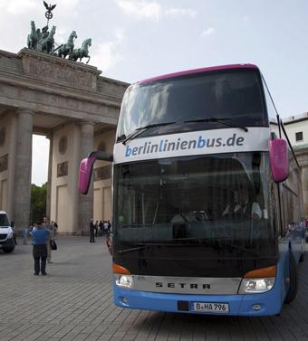 Berlinlinienbus, ägt av Deutsche Bahn, är på väg att dra sig ur tysk expressbusstrafik. Snart har FlixBus nästan monopol på marknaden. Foto: Berlinlinienbus.