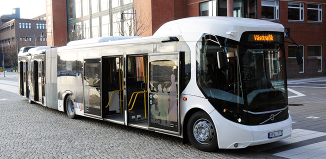 Framtidsbussen i sin ursprungliga version när Volvo lanserade den som sitt bidrag till det europeiska projektet European Bus System of the Future. Foto: Ulo Maasing.