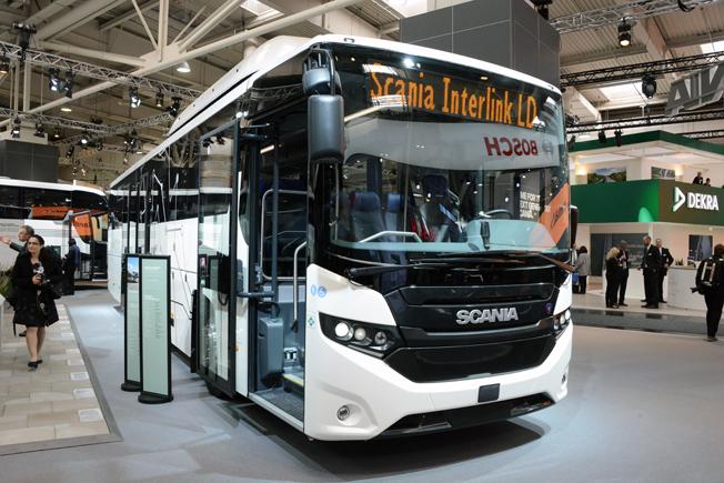 Scania visar inga nya bussmodeller på IAA, däremot denna första gasdrivna Interlink normalgovsbuss. Foto: Ulo Maasing.