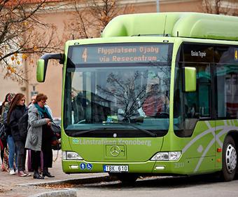 Växjös nya bniogasbussar har blivit ett bullerproblem. Foto: Länstrafiken Kronoberg.
