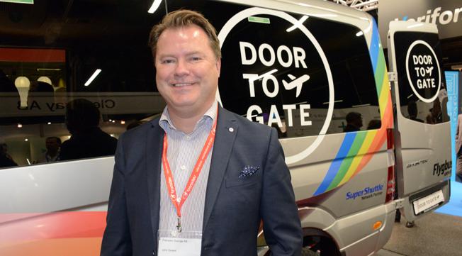 John Strand, Merresor, presenterade på tisdagen Flygbussarnas nya koncept Flygbussarna Door To Gate. Foto: Ulo Maasing.