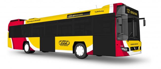 Kalmar LÄnstrafik presenterade på måndagen sin nya design som innebär att även stadsbussarna blir gula. Bild: KLT.