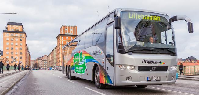 Exempel på motarbetad trafik. Flygbussarna i Stockholm släpps efter fem år med den nya kollektivtrafiklagen fortfarande inte in i SL:s reseplanerare. Foto: Flygbussarna.