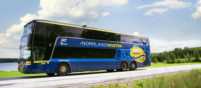 Med en delvis ny design påminns resenärer och andra om att det nu är fossilfritt längs norrlandskusten.