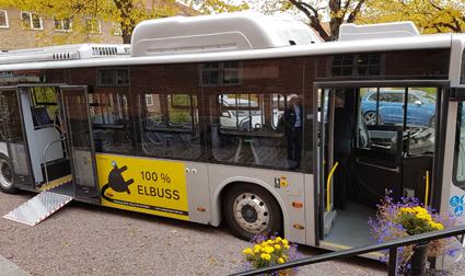 Nyköping testar just nu trafik med en BYD elbuss. Foto: Nobina.