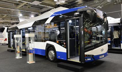 Solaris hade två Sverigepremiärer i sin monter. Den ena var nya elbussen Urbino 12 Electric. Det här exemplaret levererades till Helsingfors efter mässan. Foto: Ulo Maasing.