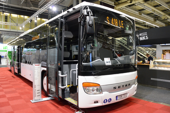 Bland de bussar som hade Sverigepremiär på Persontrafik 2016 i Göteborg fanns S 418 LE Business. EvoBus har siktet inställt på regionbussmarknaden. Foto: Ulo Maasing.