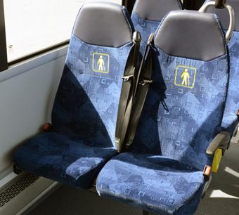 Säkerhetsbälten i Västmanlandsbuss som ser ut att fungera som de ska. Foto: Ulo Maasing.