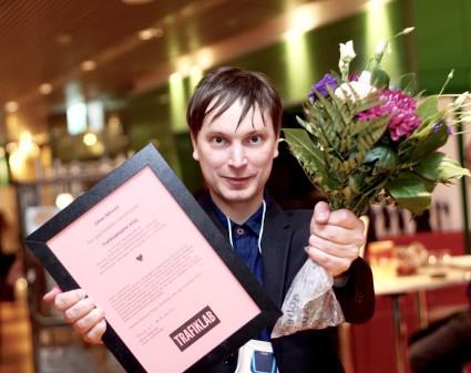 Fjolårsvinnaren Johan Nilsson blev den allra första Trafiklabhjälten. Han driver reseplanerarappen STHLM Traveling med 50 000 dagliga användaare. Foto: Samtrafiken.