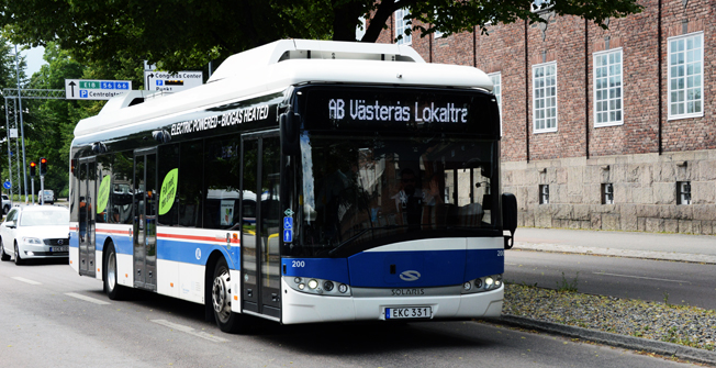 Sedan snart två år rullar en elbuss på prov i Västrås. Foto: Ulo Maasing.