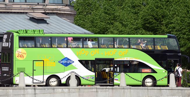 En open top-buss från Ayats i Stockholm – dock ej elektrisk. Foto: Ulo Maasing.