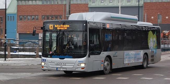 Allt fler tar bussen i Halmstad. Foto: Arriva.