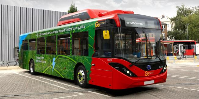 BYD/ADL:s 10,8 meter långa batteribuss till GoAhead i London. Foto: BYD.