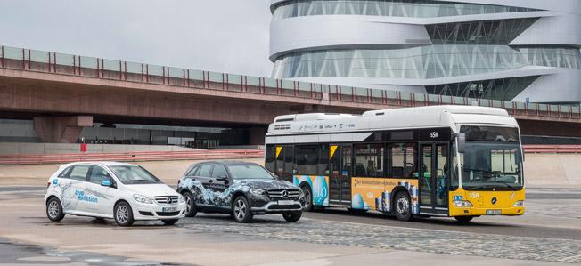 Daimler, som testar såväl personbilar som bussar som är vätgasdrivna, är ett av storföretagen i Hydrogen Council. Foto: Daimler.