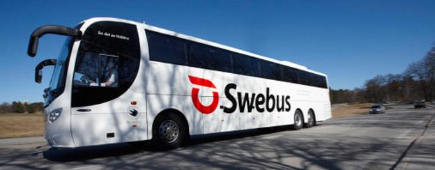 Swebus reaagerade snabbt med att sätta in extrabussar när två tåg bombhotades. Foto: Swebus.