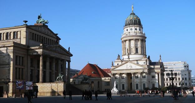 Gendarmenmarkt i Berlin. För sjunde året i rad satte Tyskland  förra året nytt rekord när det gäller turismen från utlandet. Foto: Ulo Maasing.